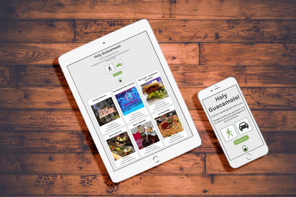 Mockups of Holy Guacamole within tablet & phone