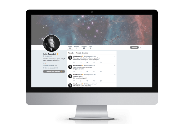Mockup of Hallo Spacebot on iMac desktop screen