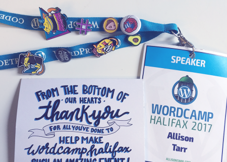 WordCamp Halifax lanyard and thank you card