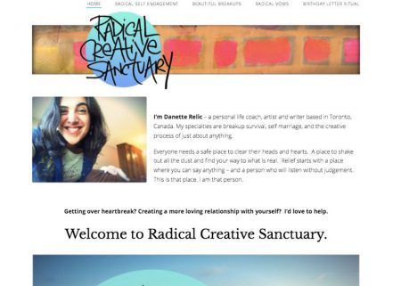 Screenshot of Radical Creative Sanctuary's homepage