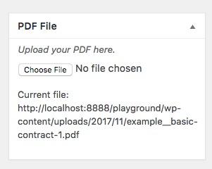 Example of meta box created with file uploaded and file path listed on WP dashboard