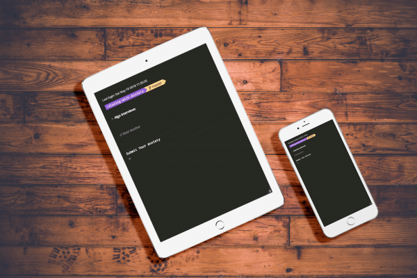 Mockup of Coding With Anxiety landing page on tablet & phone devices